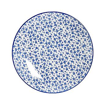 Nicola Spring Daisy Patterned Dinner Plate - Large Porcelain Dining Dish - Navy Blue - 26.5cm