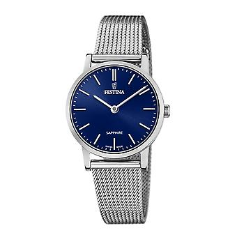 Festina Swiss F20015-2 Women's Swiss Made Blue Dial Mesh Strap Wristwatch