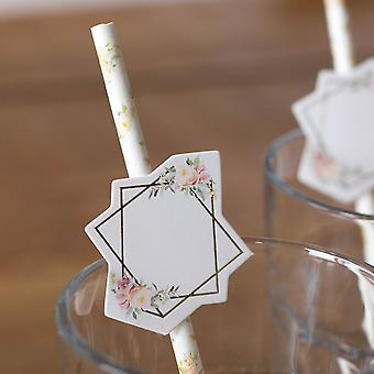 Floral Straws With Labels To Personalise x 12 - Wedding Birthday Décor
