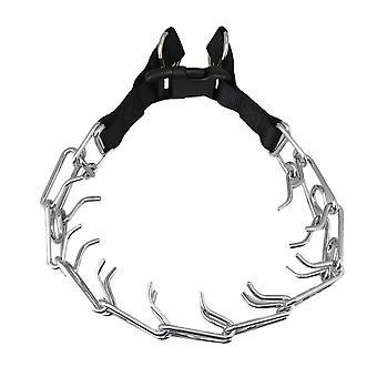 Silver Black Dog Collar 4.0mmx60cm Stop Pulling Training Chain Collar