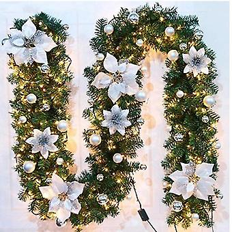 8.8-foot Christmas Lights Garland, Battery-driven Christmas Garland with Lights, używane do domu w pomieszczeniach zimowe wakacje, Nowy Rok i Boże Narodzenie Decoratio