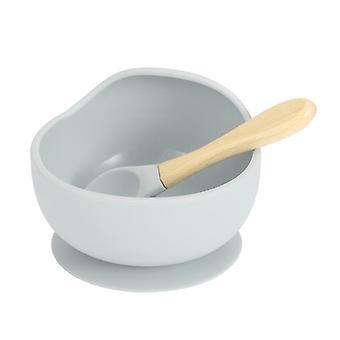 طفل سيليكون تغذية مجموعة بما في ذلك ملعقة خشبية، وعاء ولوحة