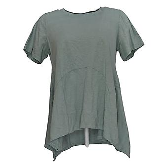 LOGO by Lori Goldstein Women's Top Cotton Slub Knit Green A307247