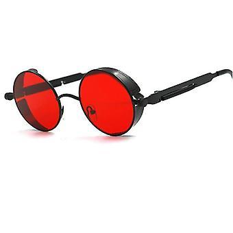 المعادن جولة Steampunk النظارات الشمسية، الإطار الرجعية، خمر
