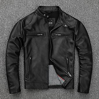Soft Sheepskin Jacket, Men Slim Genuine Leather Coat Biker Clothes Autumn