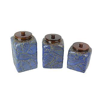 Ensemble de 3 boîtes de cuisine en céramique blue / brown fish design