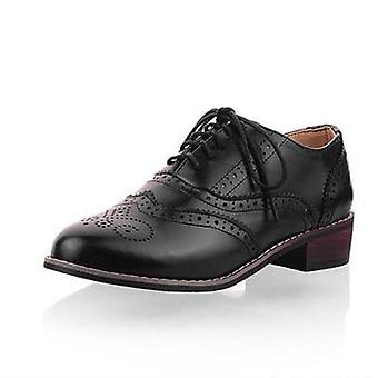 Vintage Pu Lace Up Flat Oxfords, Big Size 34-43 Ladies Casual Flat Oxford Shoes