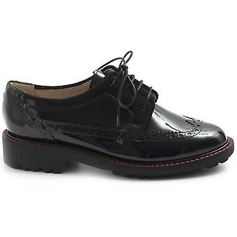 Zapato negro Sangiorgio negro con cordones de cuero