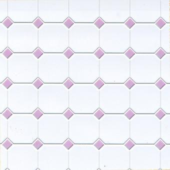Puppen Haus lila weiß geformt Kunststoff Fliesen Bodenbelag Blatt Miniatur 01:12 Maßstab
