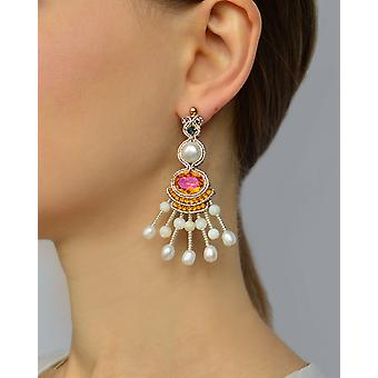Lysekrone øreringe med perler og Swarovski