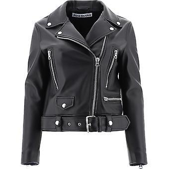 Acne Studios A70065black Women's Black Leather Outerwear Jacket