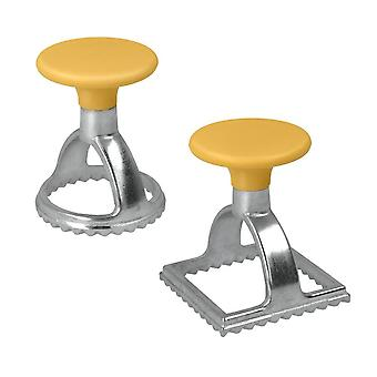 Metaltex set of 2 stainless steel ravioli stamps & cutters-square and circle, silver single
