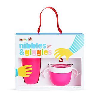 Munchkin nibbles & fnissar gåva set rosa