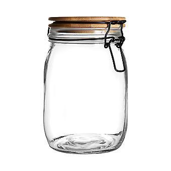 Lufttät Förvaringsburk med trälock - Rund skandinavisk stil Glasbehållare - Klarförslutning - 1 Liter