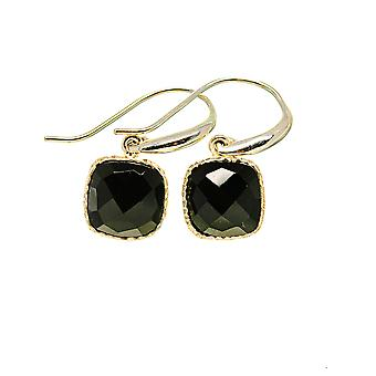 "Black Onyx Earrings 1"" (925 Sterling Silver)  - Handmade Boho Vintage Jewelry EARR411027"