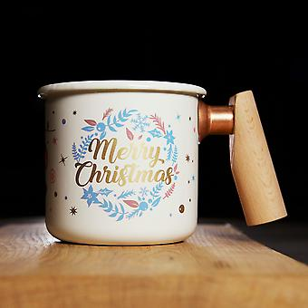 Truvii Enamel Mug with Wooden Handle - Christmas Limited Edition