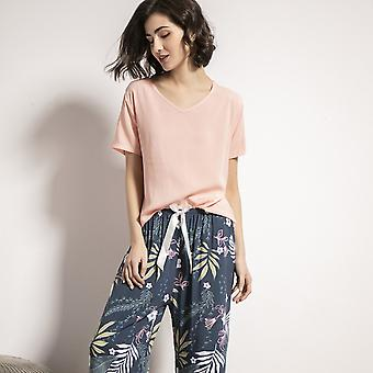 Summer Pajamas Set, Women Comfortable Cotton Viscose Tops With Long Trousers