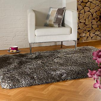 Perla alfombras Shaggy en color marrón