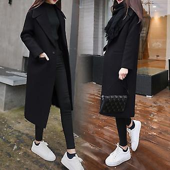 Women's Winter Long Wool Coat Outerwear Trench Korean Jackets