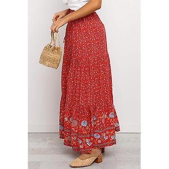 الأحمر بوهو الأزهار طباعة مرونة عالية الخصر مطوي ماكسي تنورة