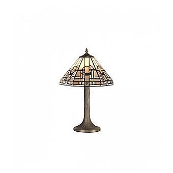 Lámpara De Mesa Tiffany Cindy 1 Bombilla Gris / Blanco 27 Cm