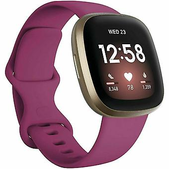 """para Fitbit Versa 3 / Sense Replacement Strap Silicone Band Bracelet Wrist[Small Fits Wrist 5.5"""" - 6.9"""",Wine Red]"""