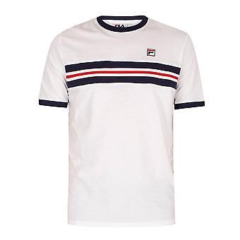 Fila Vintage Lm118959 Silver Jacquard Chest Panel T-shirt