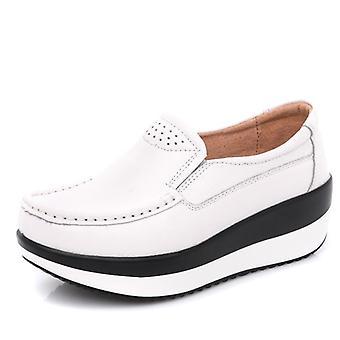White Flats Platform Loafers Genuine Leather Comfort Soft Moccasin