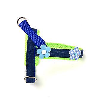 3d neon og blå floral denim hund sele