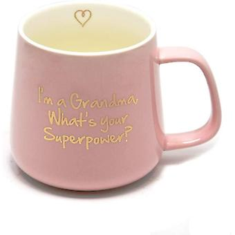 Pink Ceramics Grandma Mug Gifts from Grandson Granddaughter I'm a Grandma,What's Your Superpower?
