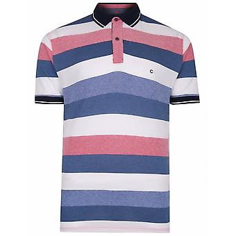 PETER GRIBBY Peter Gribby Mens Big Size Hoop Stripe Contrast Collar Cotton Pique Polo Navy