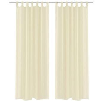 2 x Cortina transparente de cortina pronta 140 x 225 cm creme