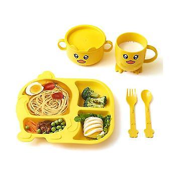 Vaisselle jaune pour enfants 5 pièces ensemble assiettes pour tout-petits et bols ensemble d'ustensiles pour enfants environnementaux x3390