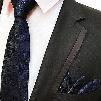 Laivastonsininen paisley-solmio & taskun neliösetti