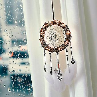 Handmade Heart Indian Dream Catcher Net With Feathers