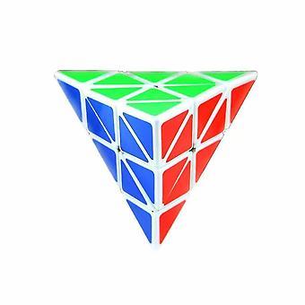 البلاستيك الأبيض الصديق للبيئة سرعة pyraminx مكعب سحري الثلاثي مكعب سحري dt6026