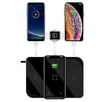 Siyah 6'si 1 arada cep telefonu kablosuz şarj cihazı, çok fonksiyonlu saat kulaklık şarj cihazı az12576