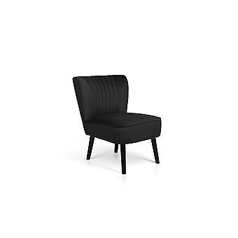 LIFA LIVING Vintage verhoiltu nojatuoli sametti, ruokailutuoli verhoiltu, samettinen jakkara nojatuoli keittiöön, olohuoneeseen, musta puu, 100kg kantavuus