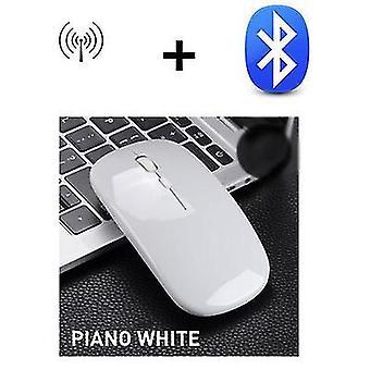 Mouse silenzioso silenzioso silenzioso ultrasottile ad alta velocità da 2,4 g Bluetooth 5.0 a doppia modalità (bianco)