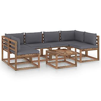 vidaXL 7 pcs. Garden sofa set made of pallets with cushions pine wood
