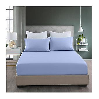 3 Piece Light Blue Fitted Sheet and Pillowcase Set