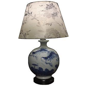 Fin AsiatiskLiving Kinesisk Bordlampe Porselen Koi Fisker