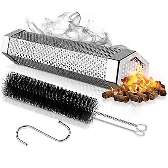 Pellet Smoker Tube For All Grill Electric Gas Charcoal,bbq,cleaning Brush & S-hook