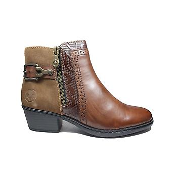Rieker 75585-24 Brown Leather Womens Ankle Boots