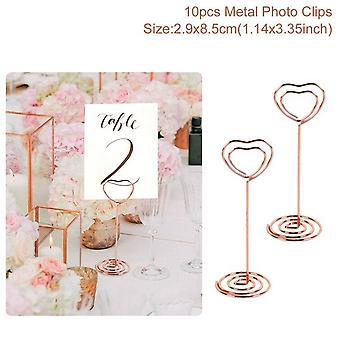 10Pcs love shape metal photo clip wedding signs wedding table numbers place cards holder wedding table decor party supplies
