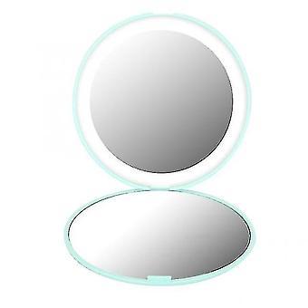 Mirrors mini portable lights led makeup mirror 10x magnify hand hold foldable 12 leds pocket makeup mirror