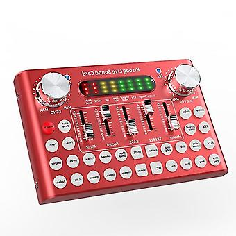 Bluetooth voice changer sound card dj mixer with multiple sound effects for live streaming music