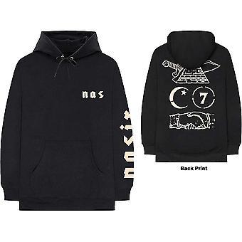 Nas unisex pullover hoodie: symbols (back print)