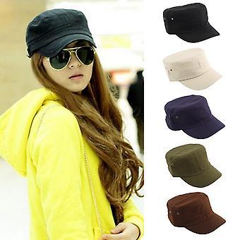 Summer Adjustable Classic Army Plain Vintage Hat Cadet Military Cap