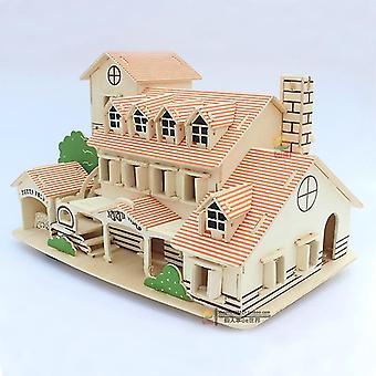 Venalisa 3d Fait à la main Diy Toy House Puzzle Éducatif Enfants Jeux Cadeaux Assembler bois |modèle Kits de construction